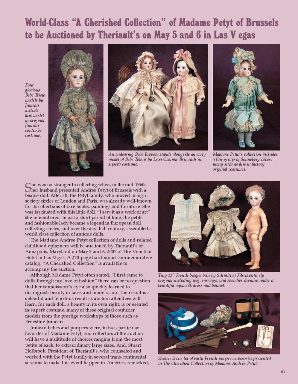 """World-Class """"A Cherished Collection"""" of Madame Petyt of Brussels to be Auctioned by Theriault's on May 5 and 6 in Las Vegas"""