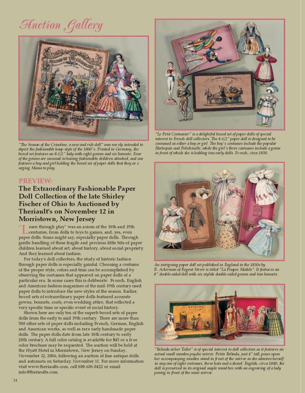 The Extraordinary Fashionable Paper Doll Collection of the late Shirley Fischer of Ohio to Auctioned by Theriault's on November 12 in Morristown, New Jersey
