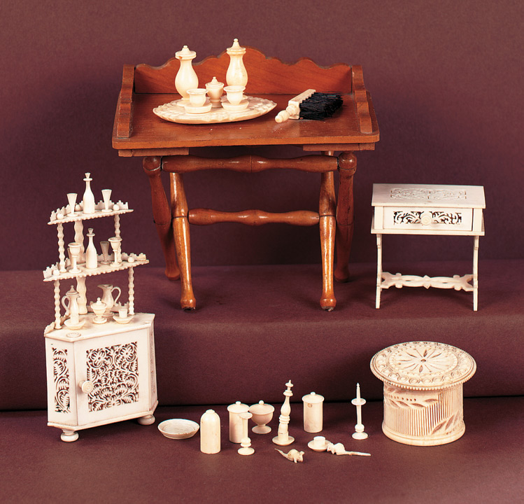 Antique Dolls And Toys Of Lego Session 1 132 Group Of Carved Ivory Or Bone Miniature Accessories