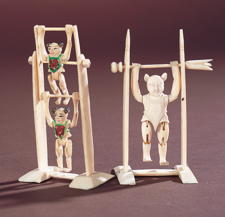 Antique Dolls And Toys Of Lego Session 2 460 Two Chinese Carved Bone Miniature Tumbling Acrobat Toys