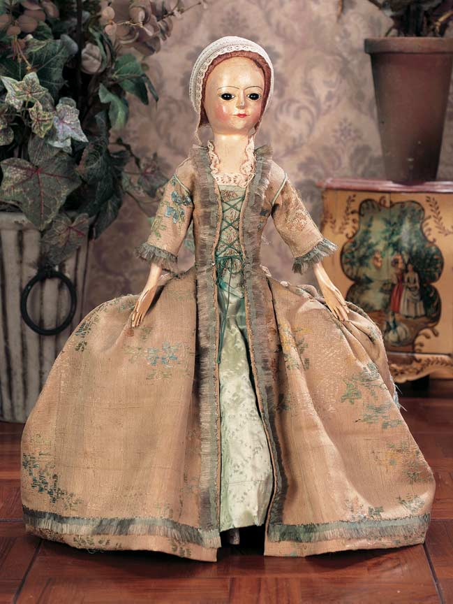 Scenes From The Court  71 18th Century Wooden Doll With Distinctive Profile