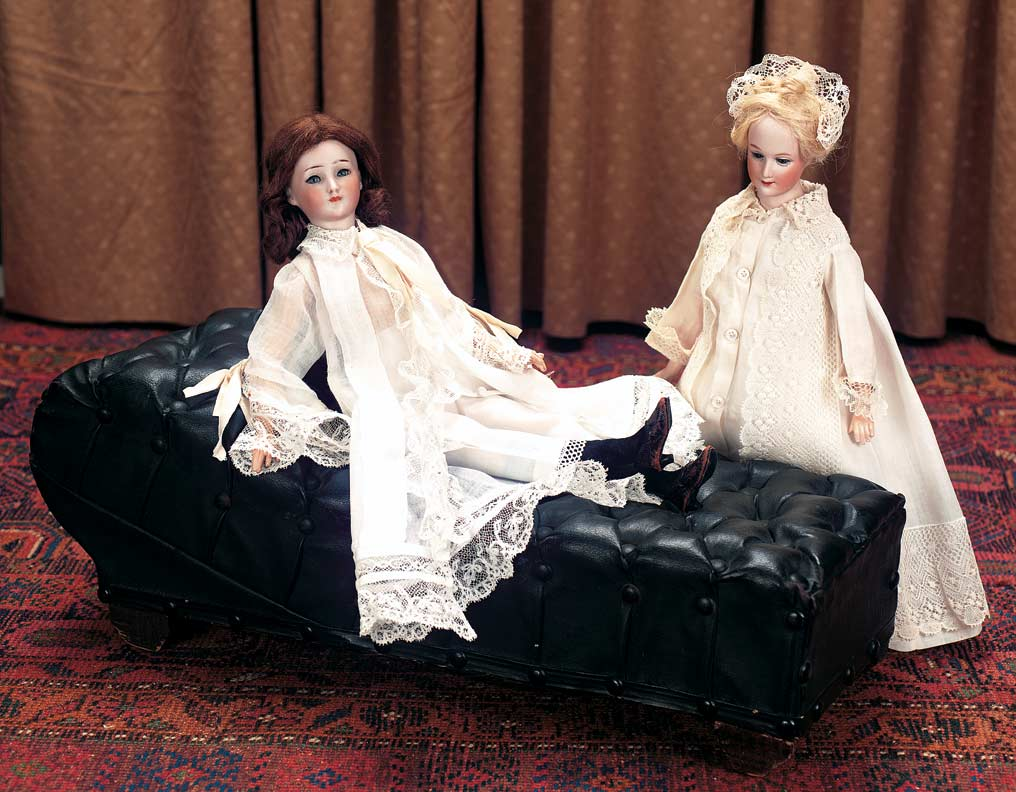 Keeper Of The Dolls 193 1 Victorian Black Leather Fainting Couch With Tufting