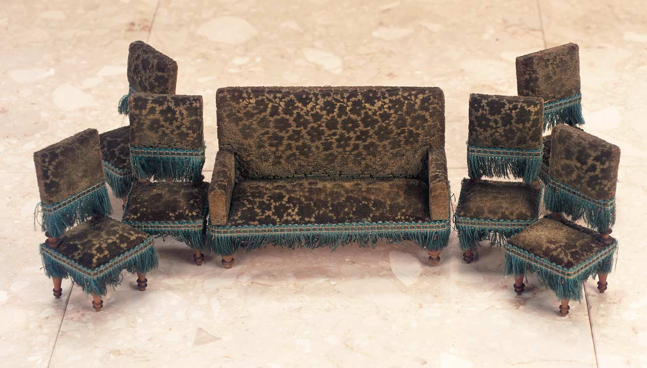 German Doll House Parlor Furniture With Rare Velvet Upholstery