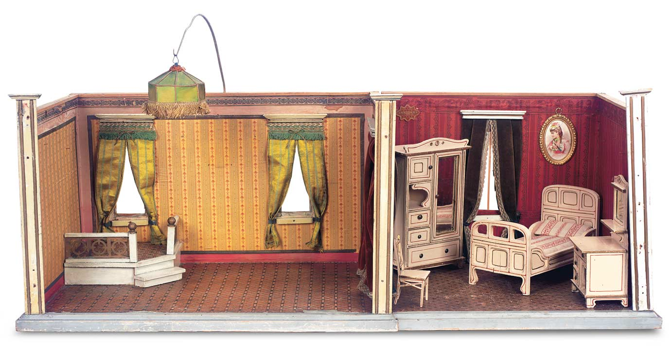 Bon German Wooden Dollhouse Rooms By Gottschalk With Raised Corner Alcove