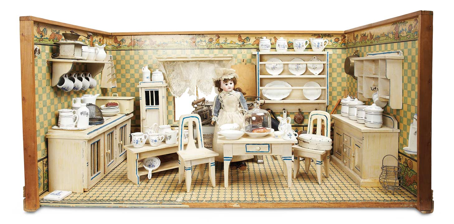 wonderful german dollhouse kitchen with farmyard scene wallpaper - Dollhouse Kitchen