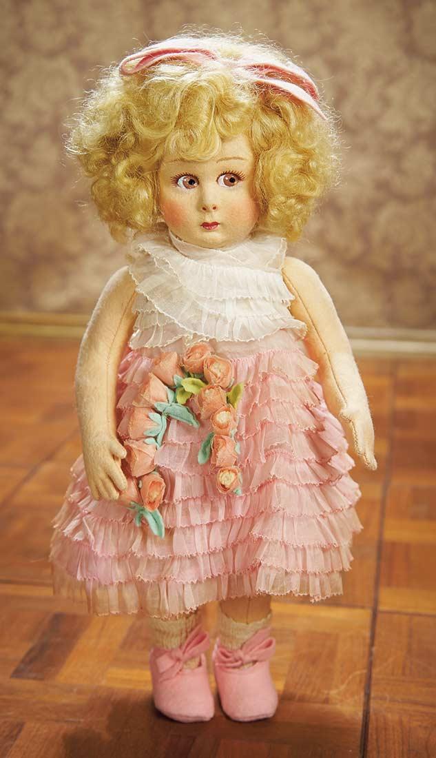 As In A Looking Glass 262 Italian Felt Wide Eyed Doll In