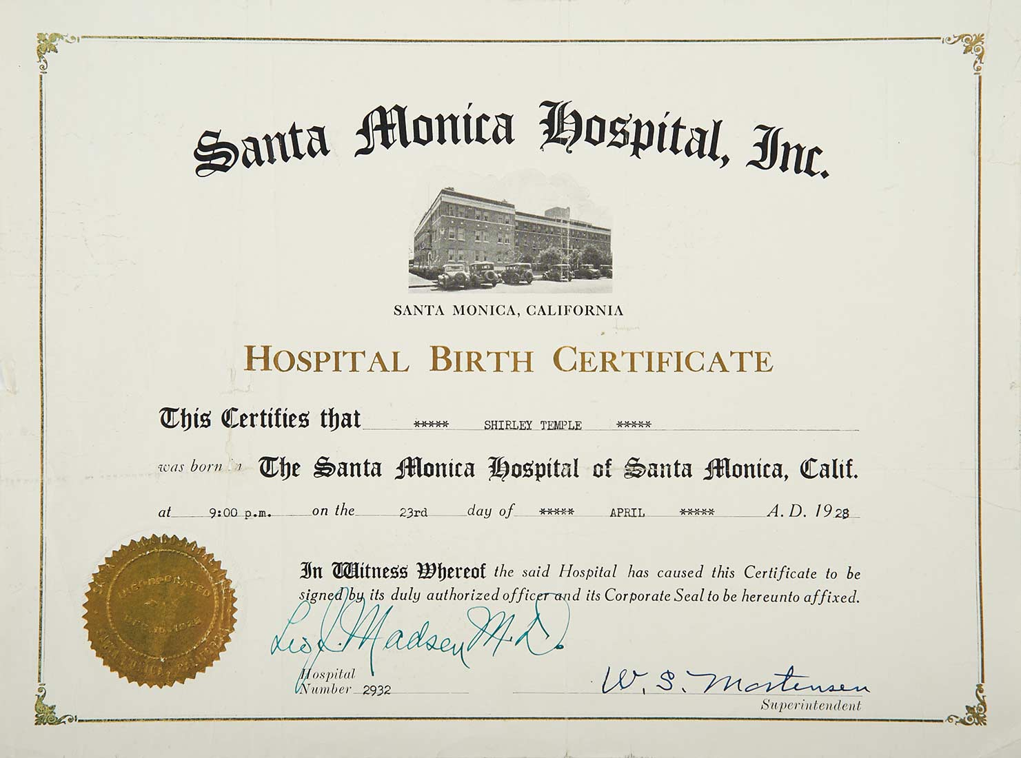 Love shirley temple collectors book 4 shirley temples shirley temples official hospital birth certificate xflitez Image collections