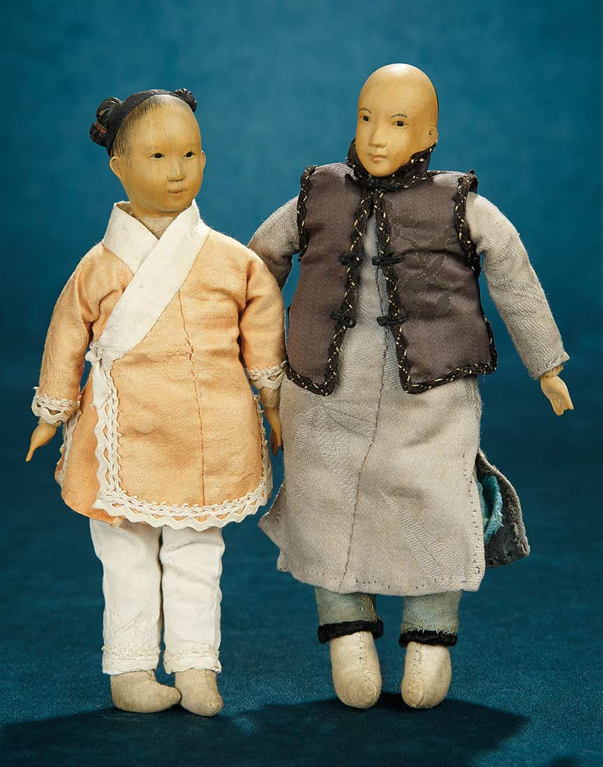 Forever Young: 277 Two Chinese Wooden Dolls from Door of ... Two Side Braids