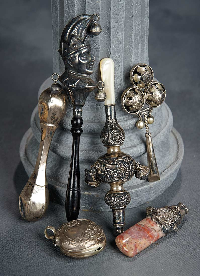 19th century silver rattle