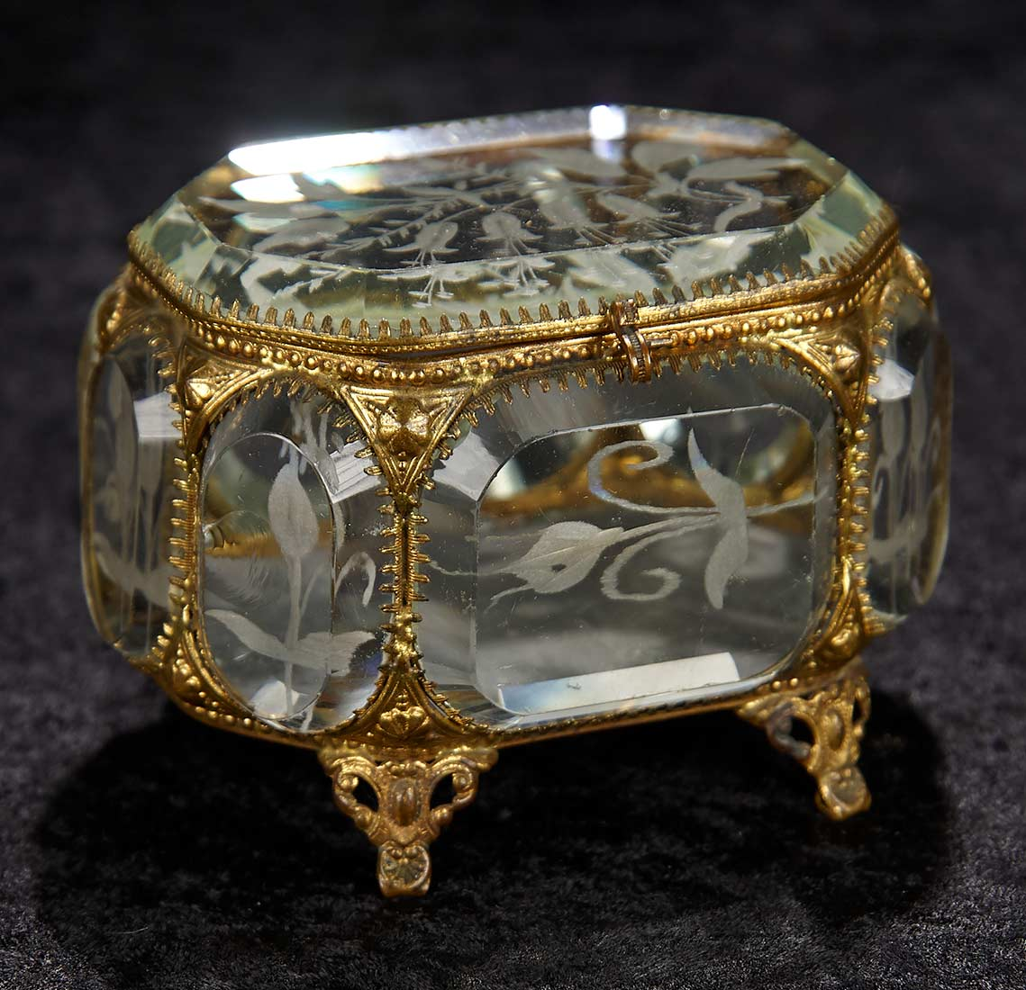 Interlude 273 French EightSided Beveled Glass Jewelry Box with