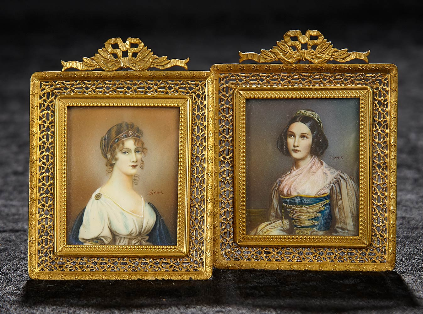 Bijoux: 163 Pair, 19th Century Miniature Portraits in Matching Frames