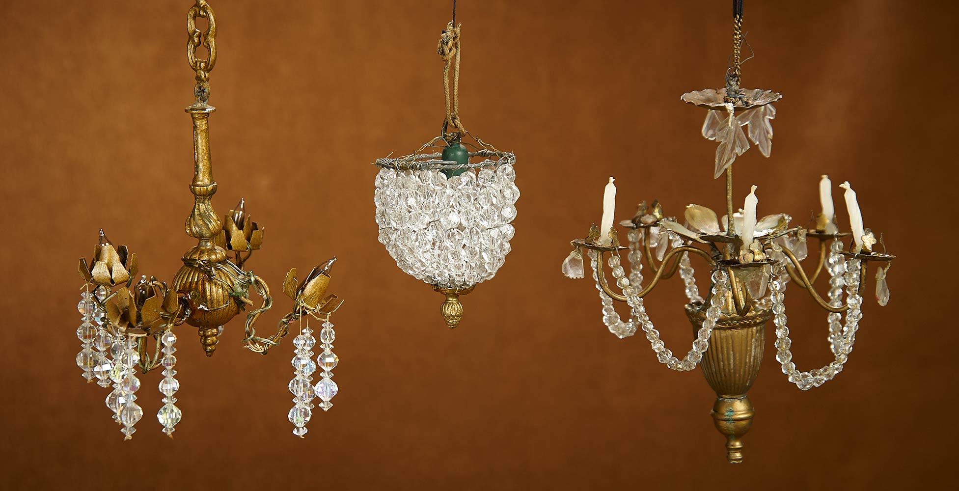 Three 19th Century Elegant Miniature Crystal Chandeliers