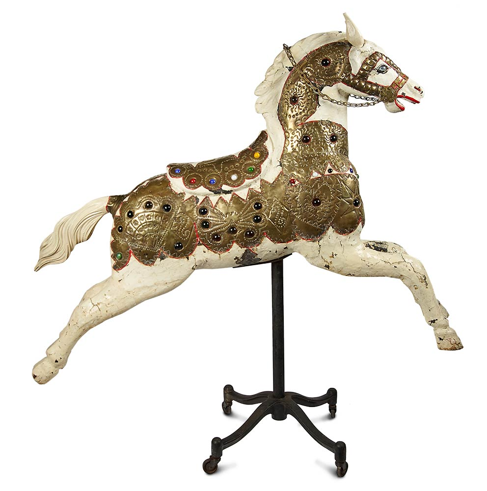 44a9e90c8b7 Antique Wooden Carousel Horse with Rare Brass Jewel-Trimmed Armor and Saddle